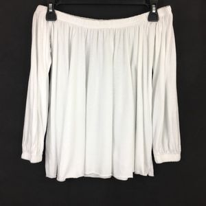 UO Truly Madly Deeply White Off Shoulder Crop Top